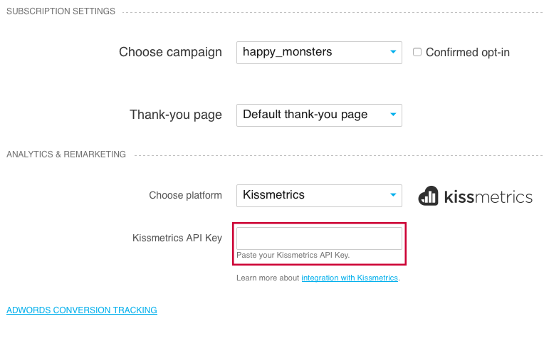 Kissmetrics field in Landing Page