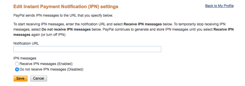 URL added to IPN box.