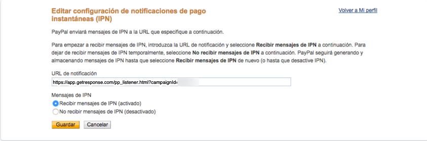 URL de la notificación.