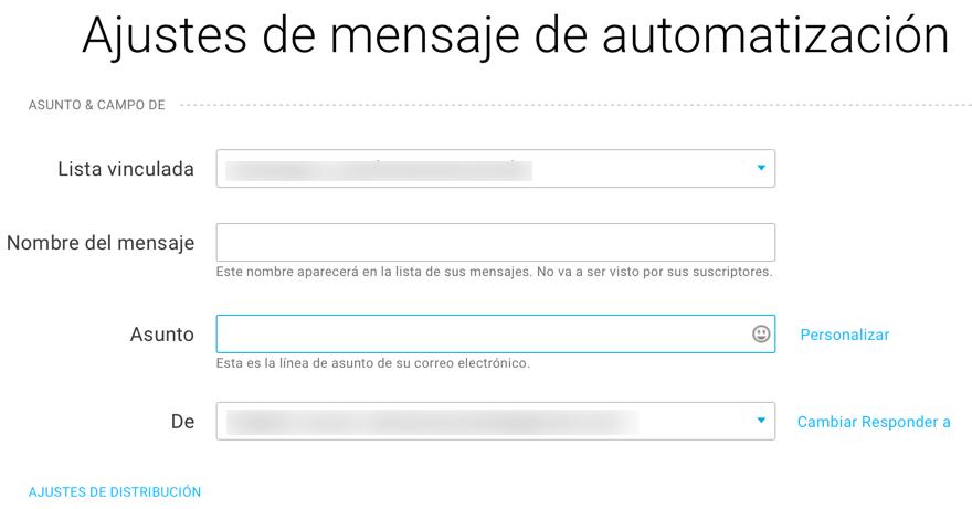 Ajustes de mensaje de automatización.