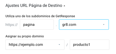 Ajustes URL landing page.