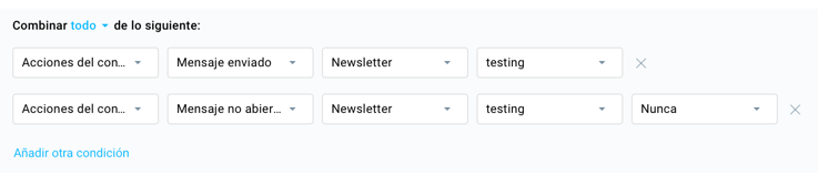 Buscar contactos que no hayan abierto el newsletter.