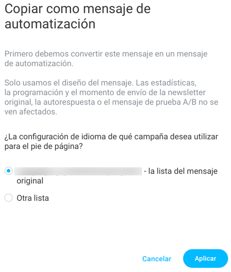 Copiar como mensaje de automatizacion.