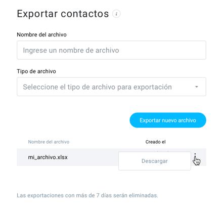 Exportar contactos.