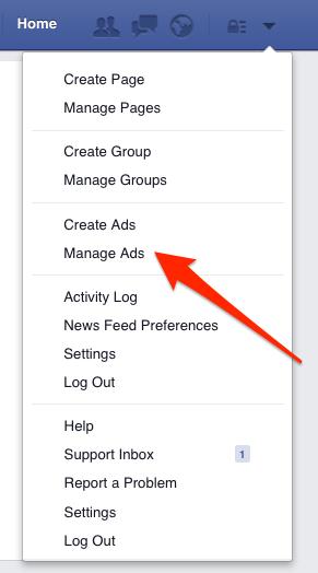 Facebook menu.