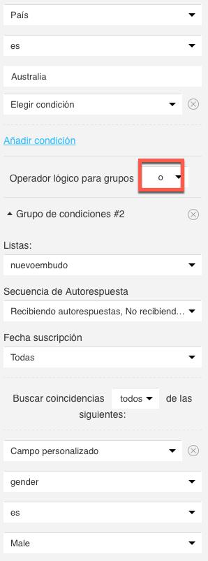 Grupo de condiciones con O.