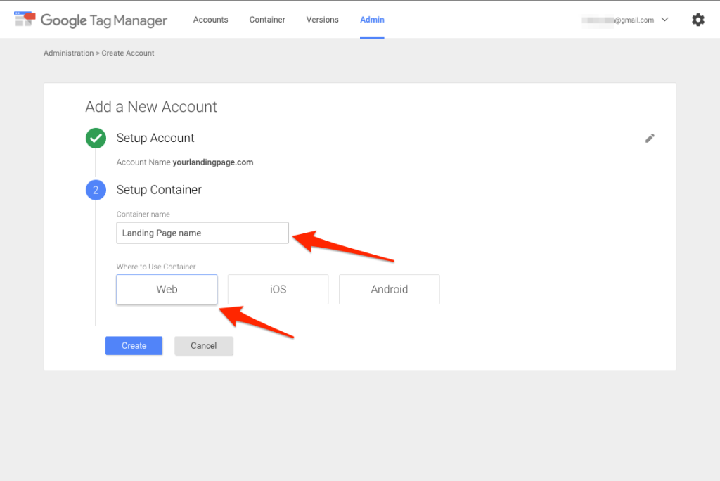Tag Manager account setup 2.