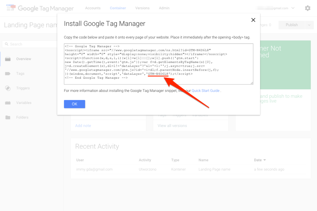 Tag Manager account setup 3.