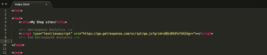 JavaScript code snippet in a page.