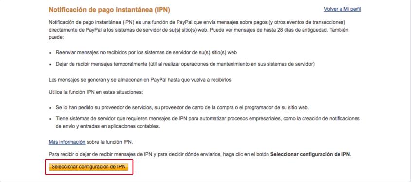 Seleccionar configuración de IPN.