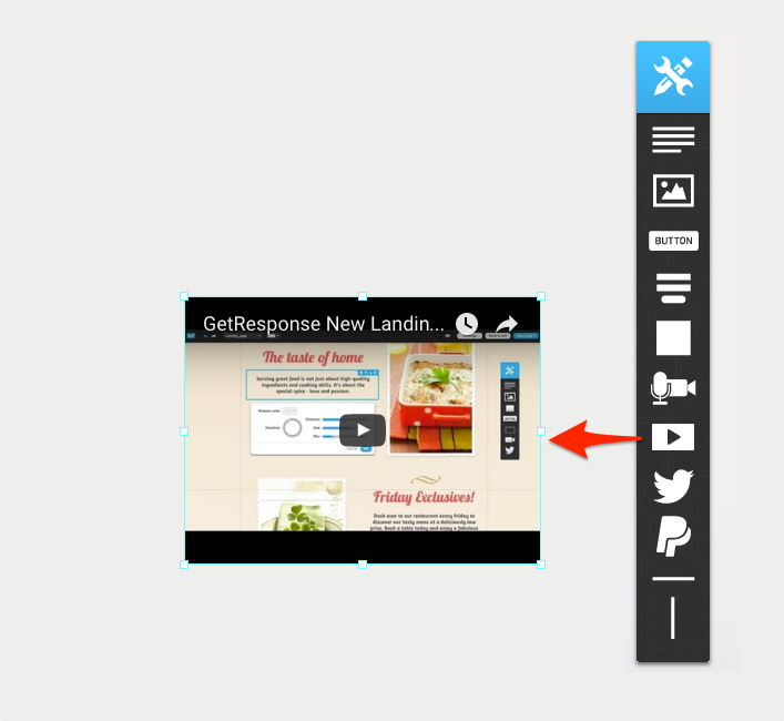 Add a video icon on landing page.
