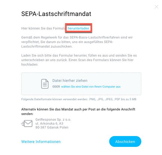 Auswahlfenster SEPA Lastschriftmandat.