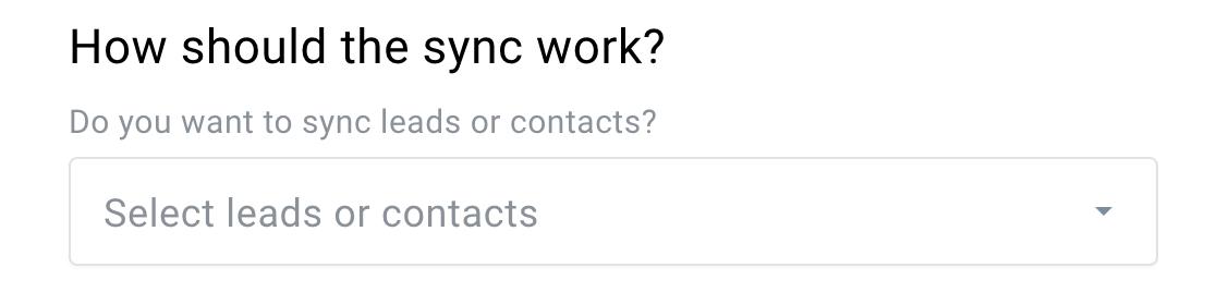Auswahl Kontakte oder Leads.