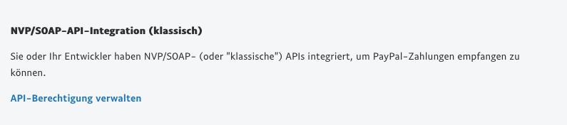 Auswahl NVP/SOAP-API-Integration.