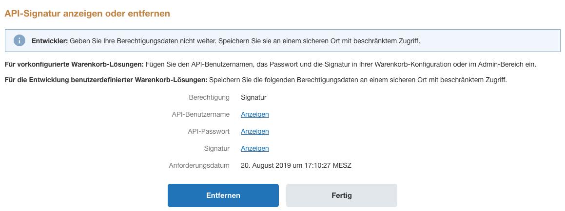Auswahl API-Signatur anzeigen oder entfernen.