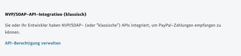 Auswahl API-Berechtigung verwalten.
