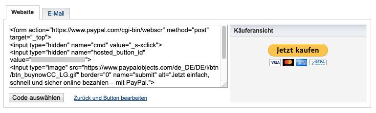 Jetzt kaufen Button HTML Code.