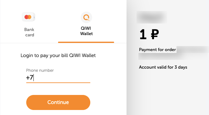Qiwi payment options.