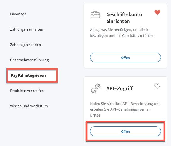 Auswahl API-Zugriff.