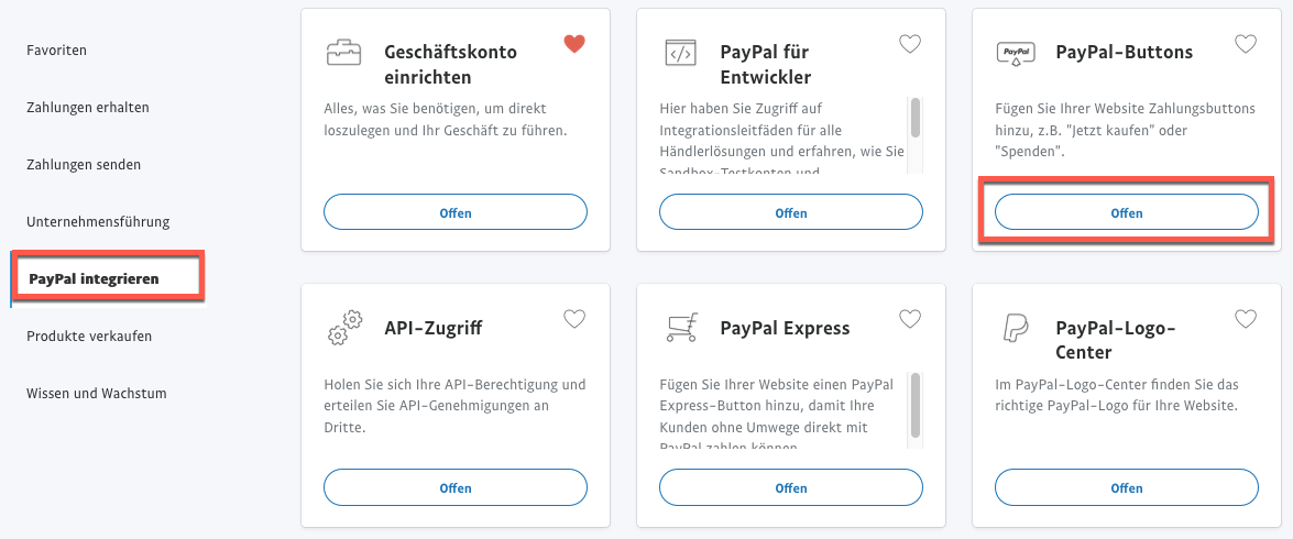 Auswahl PayPal Buttons.