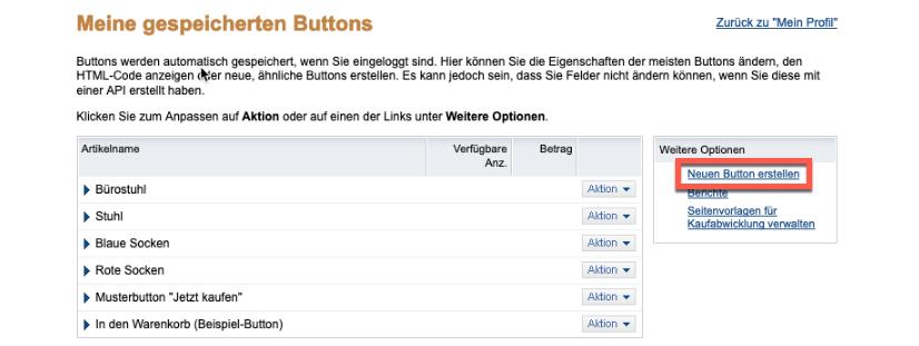 Auswahl Neuen Button erstellen.