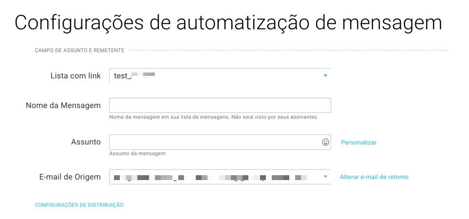 Configurações de automatização de mensagem