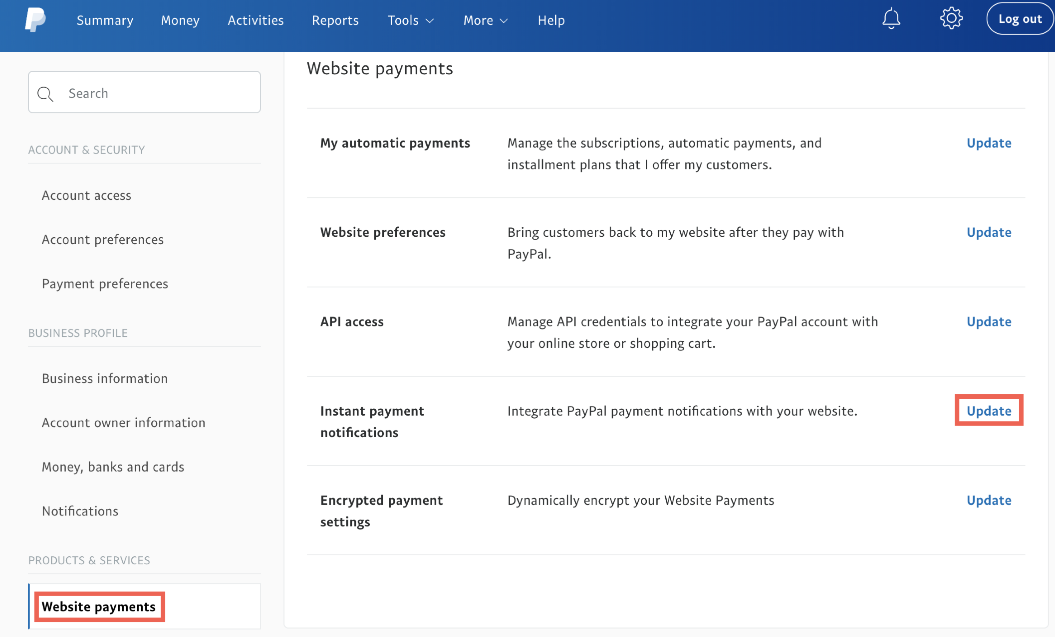 PayPal website payments.