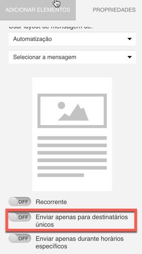 Mostrada chave habilitada para enviar para destinatários únicos