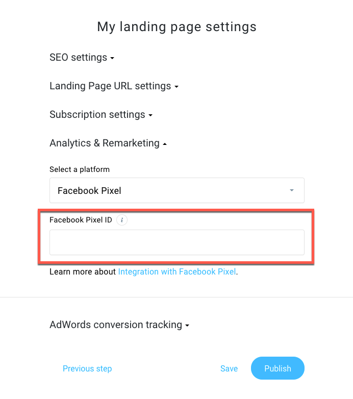 Facebook Pixel location in GetResponse landing pages