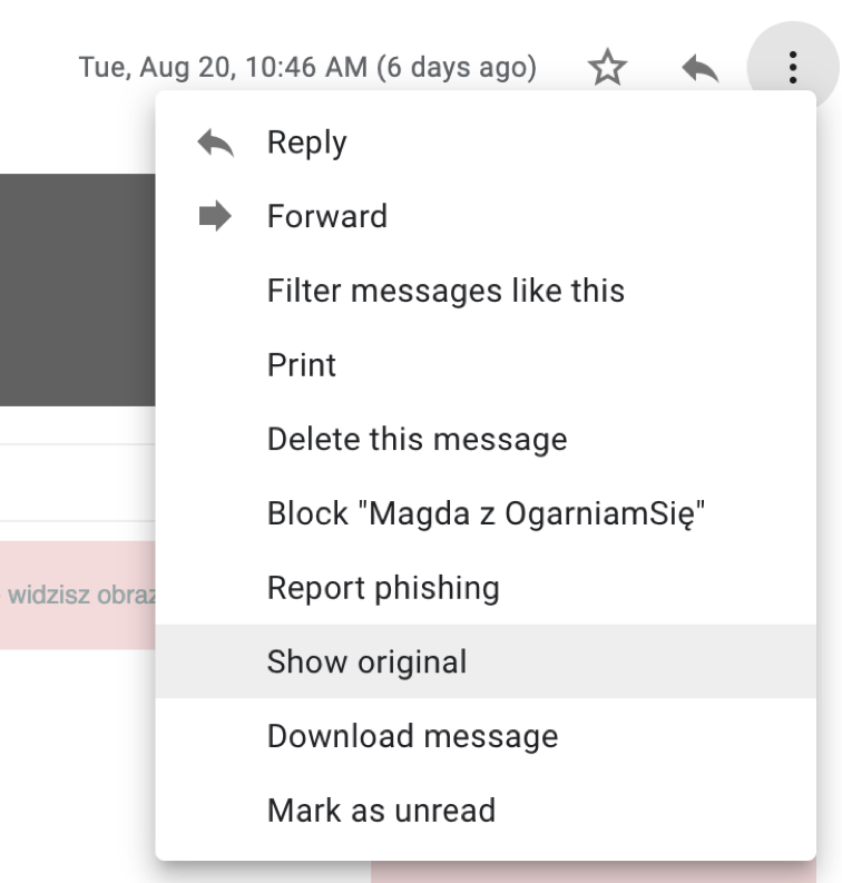 headers in gmail.