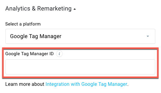 tag manager landing page settings.