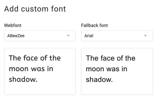 fonts add custom settings.