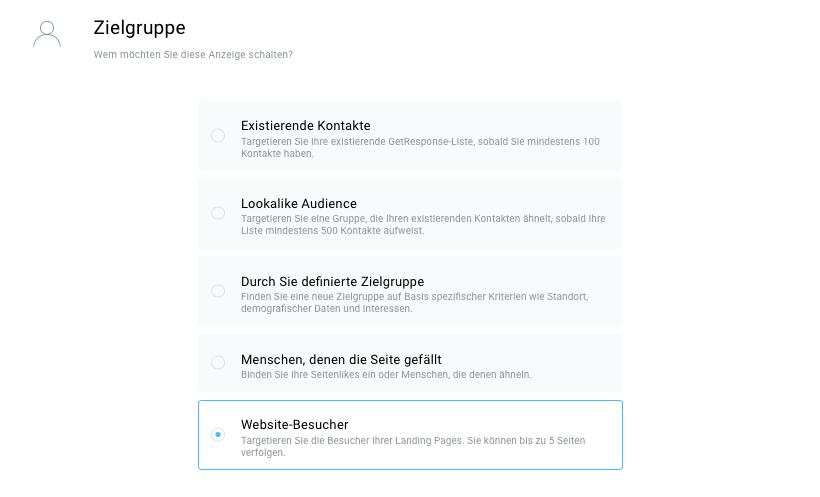 Auswahl Zielgruppe Website-Besucher.