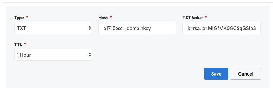 DKIM configuration in GoDaddy DNS