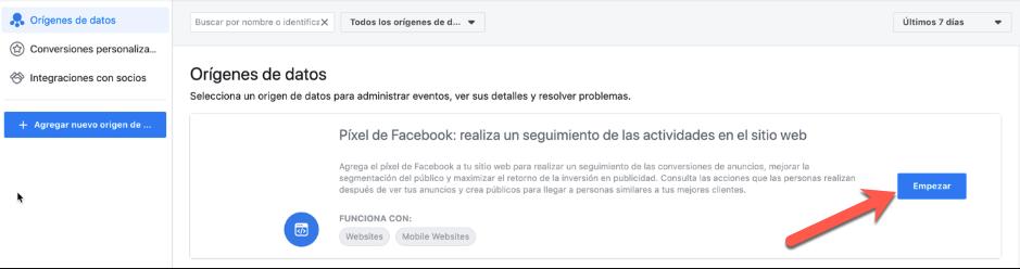 Crear un Facebook Pixel
