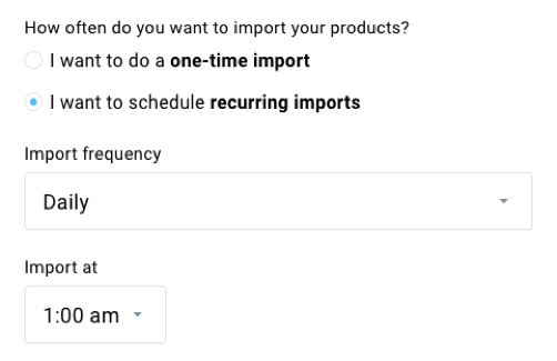 recurring imports product feed.