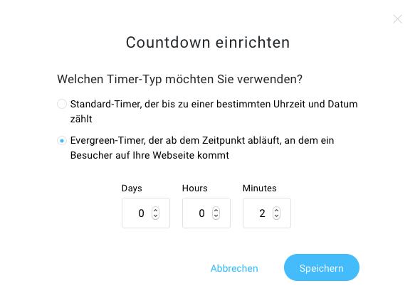 Einstellungen des Countdown Timers.