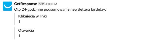 Podsumowanie pierwszej doby newslettera.