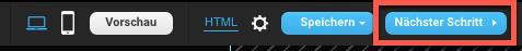 Auswahl nächster Schritt im Landing Page Editor.