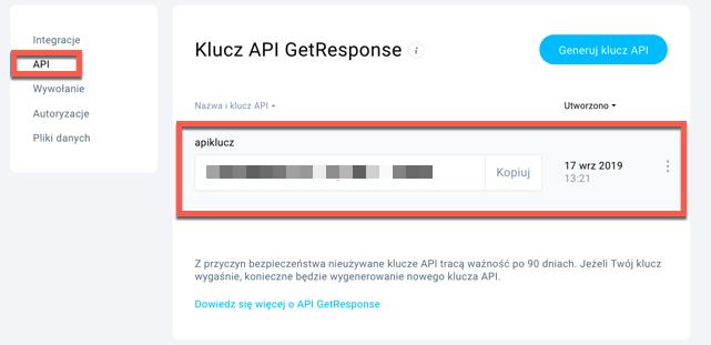 Klucz API.