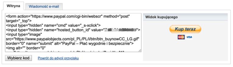 Kod HTML przycisku.