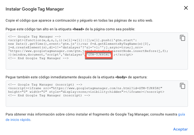 Instalar Google Tag Manager.