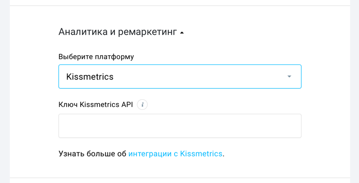 поле Kissmetrics в параметрах лендинга