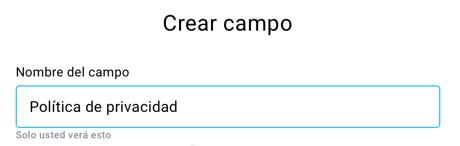 Nombre del campo.