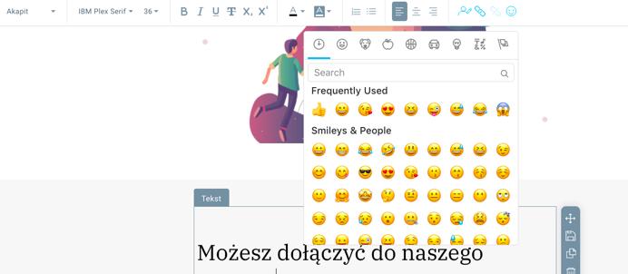 Dodawanie emoji.