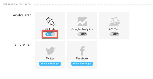 Auswahl Klickrate in den Versandeinstellungen.