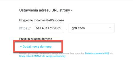 Dodaj nową domenę.