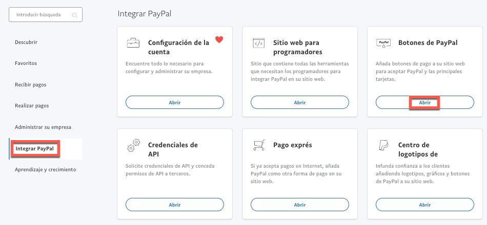 Botones de PayPal.
