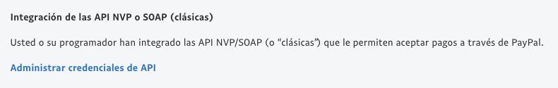 Integración de las API NVP o SOAP.