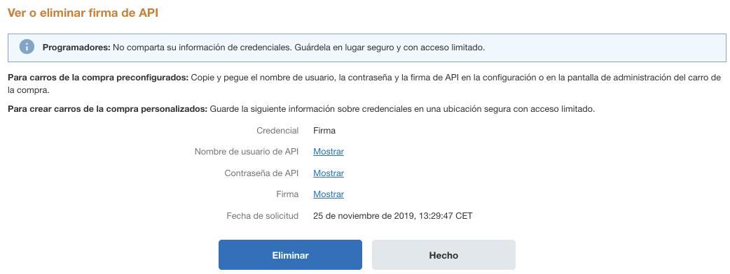 Página con credenciales de API.